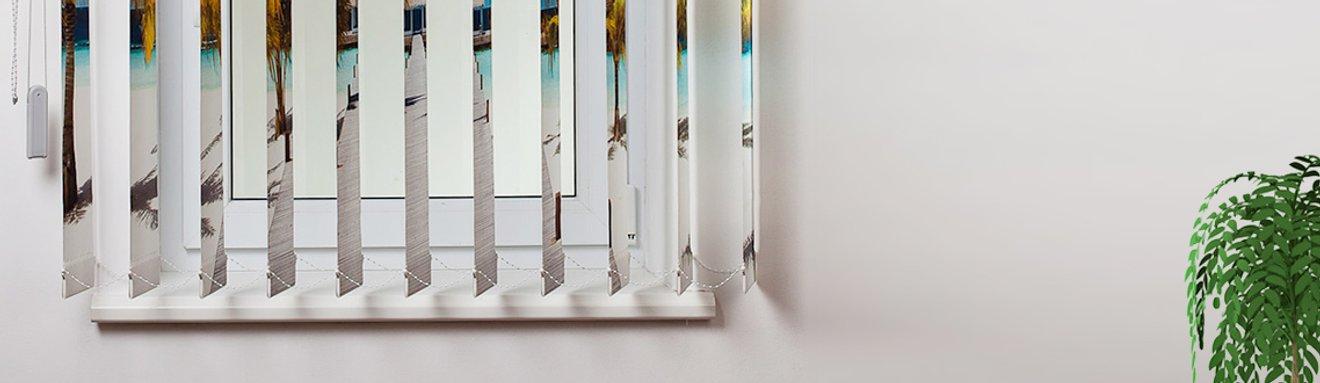 Foto-Lamellen als Austauschlamellen bedruckt mit Strandmotiv am Fenster