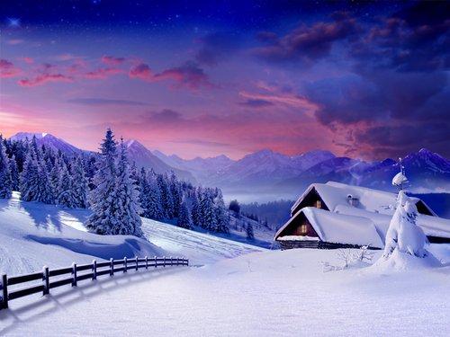 Foto-Leinwand ohne Rahmen - Berghütte im Winter (von ZuboFF_Fam)