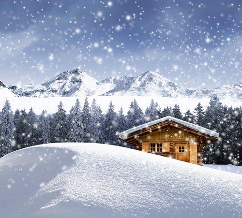Foto-Leinwand ohne Rahmen - Hütte im Schnee (von by-studio)