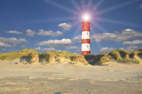 Foto-Leinwand ohne Rahmen - Leuchtturm am Meer (von Reena)