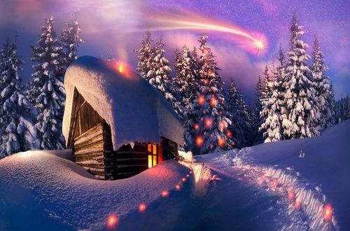 Foto-Leinwand ohne Rahmen - Verschneite Holzhütte (von panaramka)
