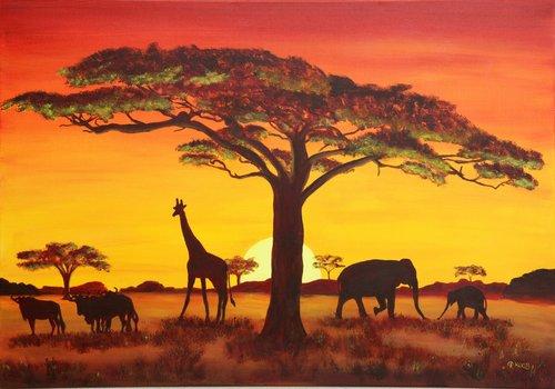 Foto-Leinwand ohne Rahmen - Afrika Tiere im Abendrot (von Petra Koob)