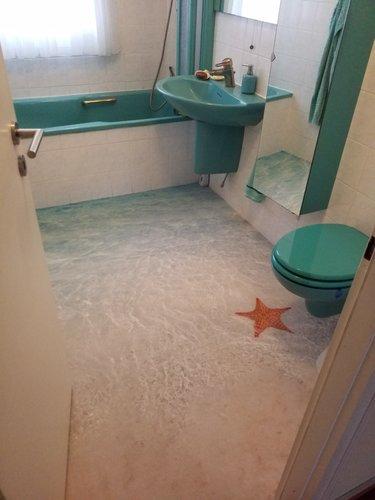 Teppich Meer im Badezimmer