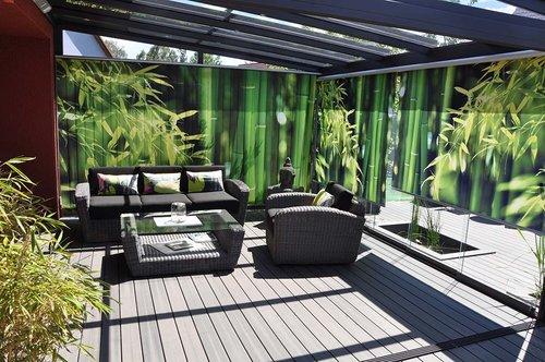 Lamellenvorhang Motiv Bambus für Wintergarten