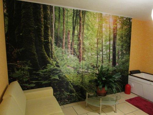 Schiebegardine Wald & Acrylglas Wald für Badezimmer